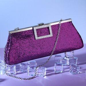 Vintage 1980's Purple Glitter Bag with Rhinestones